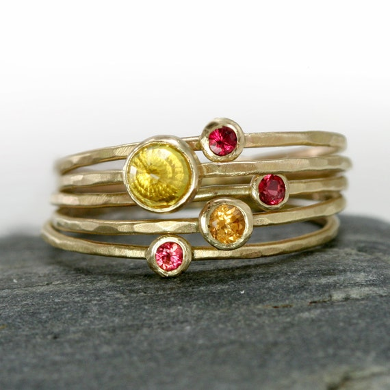 Sapphire Stacking Rings in 14k Yellow Gold, Set of 5 Thin Gold Stack Rings, Yellow and Red Padparadscha Sapphires - Ready to Ship