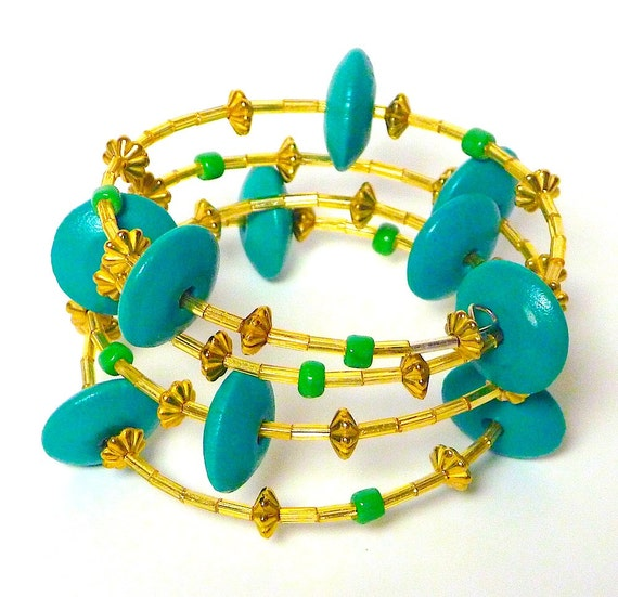 Coil Beaded Bracelet teal gold MISS CONGENIALITY Beading Divas Fundraiser