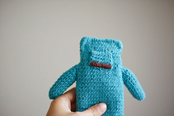 Knitted Teddy Bear Toy for Baby Boys Baby Girls  - Turquoise Blue Green Mint Cotton  - Newborn Baby Shower Toddler Kid  - OOAK - Flat Bear