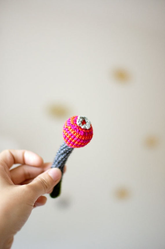 Crochet Flower Brooch with Stripes - Cotton and Wool - Playful Brooch from My Little Garden -  Hot Pink Scarlet Red Dark Grey Green - OOAK