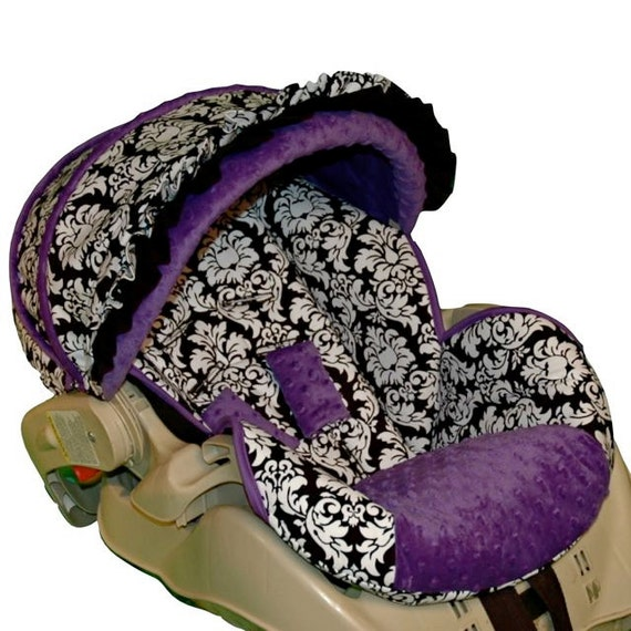 custom replacement baby car seat cover dandy damask purple. Black Bedroom Furniture Sets. Home Design Ideas