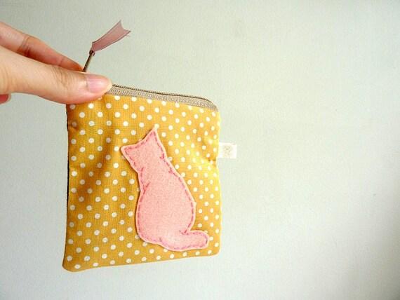 Cat Coin Purse, Cat Zipper Pouch, Cat Purse