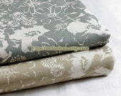 SALE Clearance 1 Yard Zen Style Floral, Beige-Japanese Linen Cotton Blended Fabric