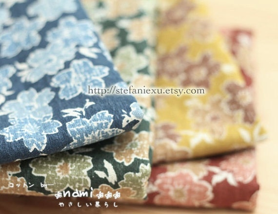Gorgeous Big Sakura Cherry Blossom - Japanese Traditional Linen Cotton Blended Fabric(Fat Quarter)