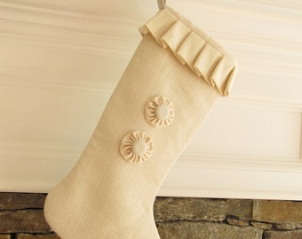 Burlap Christmas Stocking Winter White Large Two Buttons