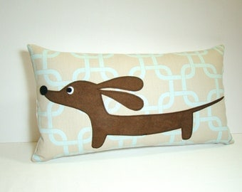 Dachshund Wiener Dog Pillow - Doxie in the Stormy Sky Garden - Modern Dog Home Decor Gray Blue Geometric