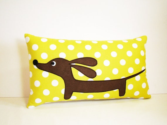 Dachshund Wiener Dog Pillow - Doxie Chartreuse Dot Delight