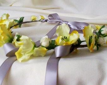 yellow grey wedding flower crown bridal hair accessories-Jill-Hair Wreath AmoreBride artificial floral headband flower girl halo photo prop