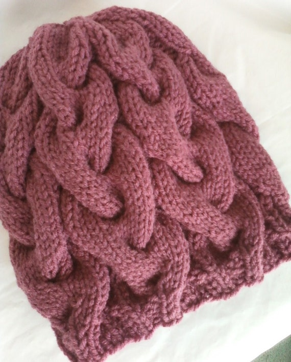 Slouchy Braided Cable Knit Hat - Country Rose