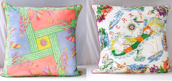 Throw Pillow Covers 25x25 : Vintage Scarf Pillow Cover BERMUDA & WaterSki by VintageCommon