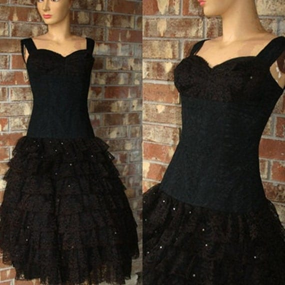 On For Sale Vintage 50s 1950s Burlesque Little Black Cocktail Illusion Lace Tulle Pinup Tiered Hoiliday Christmas Party Prom Dress