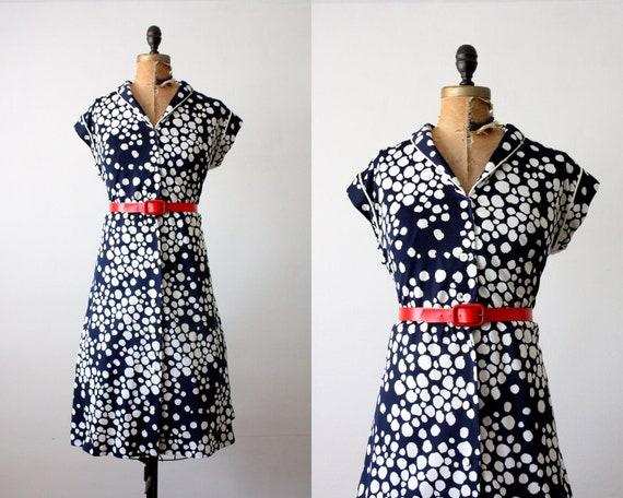 polka dot dress - vintage 1970's polka dot print day dress