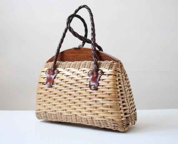 vintage 1950's straw satchel