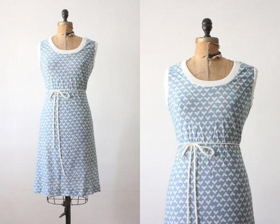 1970s dress - heart print day dress