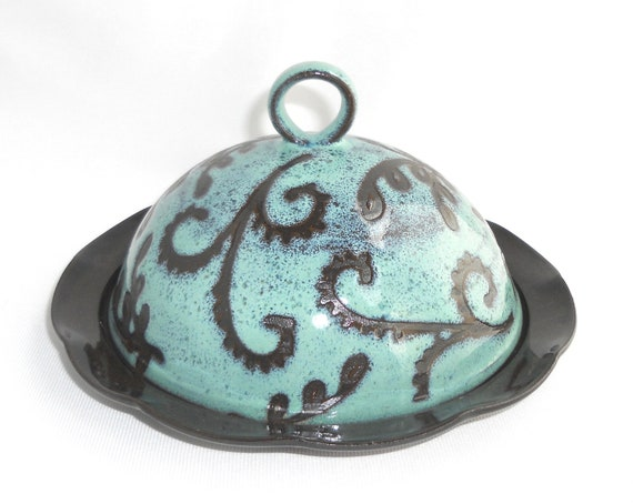 Cheese Dome , Large Butter Dish , Turquoise , and Brown Paisley Covered Plate