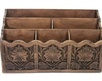 ON SALE - Vintage Scandinavian Style Faux Wood Mail Caddy / Organizer / Holder