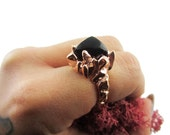 Primordial Mound Ring in Rose Gold with Onyx Gemstone