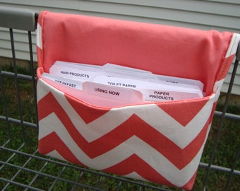 40% Off Coupon Wallet Organizer /Budget Organizer Holder  / Attaches To You Shopping Cart -  Chevron - Zig Zag - Coral