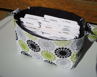 Super Size Coupon Organizer / Budget Organizer Holder Box - Attaches to Your Shopping Cart - Black,Gray,Lime Green Dotted Circles