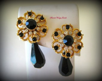 Vintage Dangle Earrings Jet Black Faceted Tear Drop and Rhinestones in Elegant  Filigree Setting