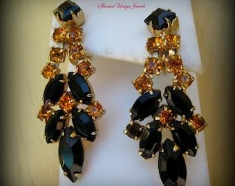 Vintage Long Dangle  Rhinestone Earrings Black and  Amber Runway Jewelry