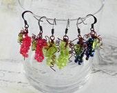 Grape Earrings - Wine Themed Dangle Earrings - Wine Charm Earring
