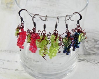 Grape Earrings - Wine Themed Dangle Earrings - Wine Charm Earring - Your Choice of 3 Colors
