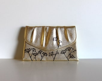Fresh - VINTAGE gold CLUTCH with hand painted flowers