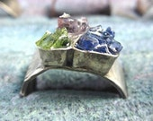Family ring - Rough stone colorful ring - silver and recycled glass ring - MADE TO ORDER