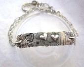 Heart silver bracelet - unique casual look - cute bracelet