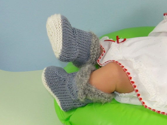 Instant Digital File pdf download knitting pattern - Baby Fur Top Booties (Bootees) Boots pdf download knitting pattern