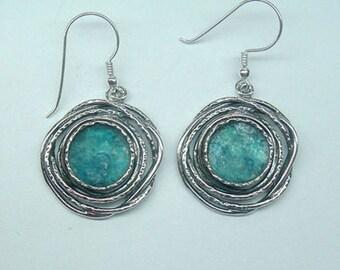 Sterling Silver Earrings, Earrings for women, Israeli sterling silver 925 earrings with roman glass, Roman glass earrings