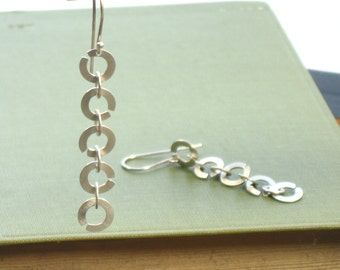 Enso Inspired Falling Circles Sterling Silver Dangle Earrings