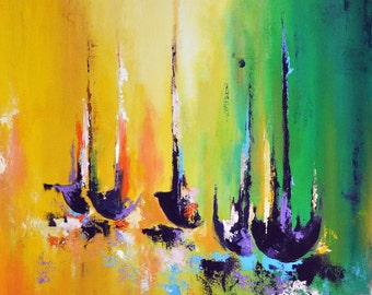 "Abstract Boats Original Abstract Painting, Nautical Green Yellow Modern Art 24""x24''"