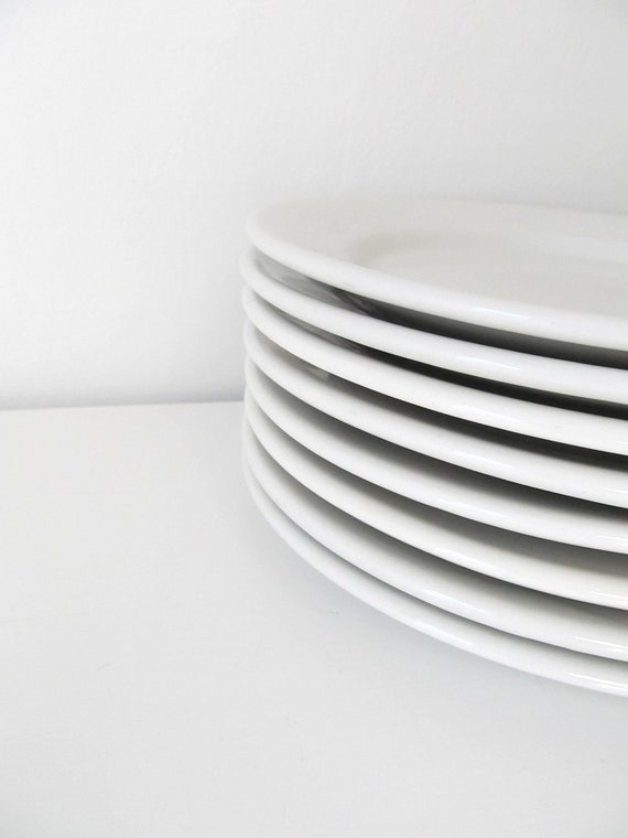 RESERVED FOR DEBRA- 8 Large and 8 Small  Vintage White Ironstone Restaurant Plates