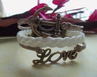 Anchor Love Bracelet, Charm Bracelet, Friendship Bracelet