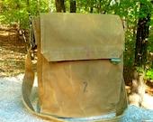Stamped Vintage Czech Military Satchel...Canvas Messenger bag.. Ipad Perfect