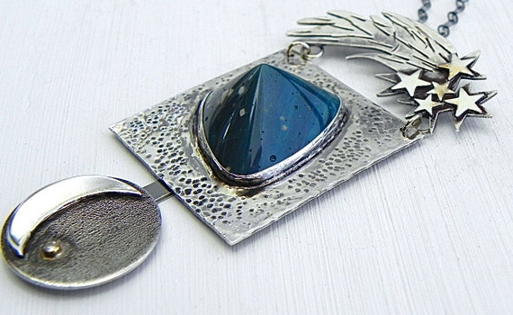 Moon Sky Stars Necklace Sterling Diamond Ocean Jasper One of a Kind Jewelry Wild Prairie Silver