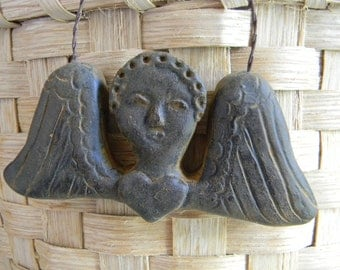 Blackened Beeswax Primitive Tombstone Angel Ornie  #311