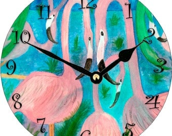 Flamingo Party Wall Clock  round from my art