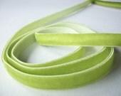 Green velvet elastic ribbon trim 3 yards 10mm kiwi lime green stretch velvet ribbon for headbands in apple green