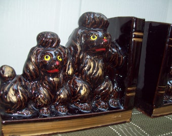 Vintage Ceramic Brown and Gold Poodles Bookends