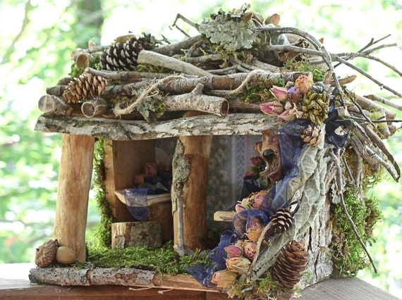Woodland Fairy House Rose Cottage Fairy Furniture Custom One of a Kind