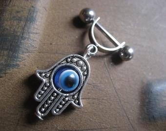 16 Gauge Helix Cartilage Bar Hand Of Fatima Hamsa Blue Evil Eye Charm Dangle 16g G Industrial Barbell Upper Ear Piercing