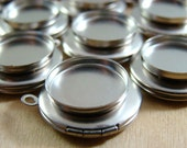 One Petit Brushed Matte Silver Lockets With 15mm Bezel Setting, 15mm locket, silver locket, diy locket, locket, lockets