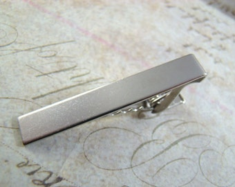 With Gift Box! Silver Tie Clip, Silver Tie Bar, Groomsmen, Wedding, Father's Day, Just Because, Tie Bar, Silver Tie Bars