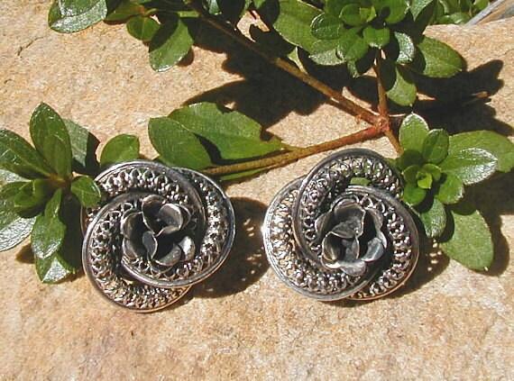Elegant Sterling Silver Danecraft Rose Filigree Earrings