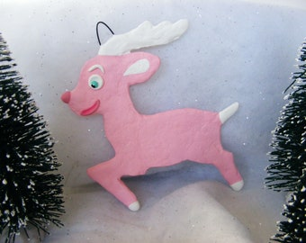 Cottage Chic Pink Reindeer Folk Art Ornament