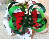 Christmas Hair Bow ChristmasTree Pin Wheel Hair Bow Red Green White Forest Green Ho Ho Ho Merry Christmas Happy Holidays