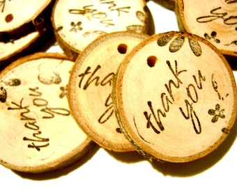 300  Wooden Tree Branch Charms Thank You